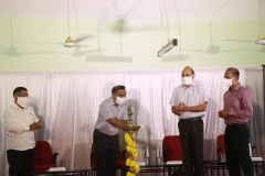 Dignitaries lighting the traditional lamp during the award ceremony